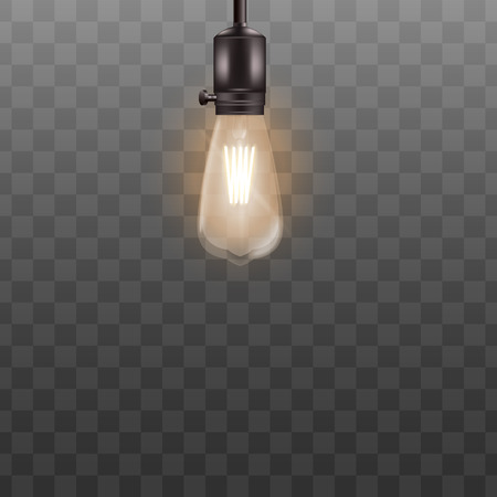 One 3d light bulb hanging on short wire in realistic style, vector illustration isolated on black transparent background. Retro incandescent Edison lamp design for loft or vintage interior Illustration