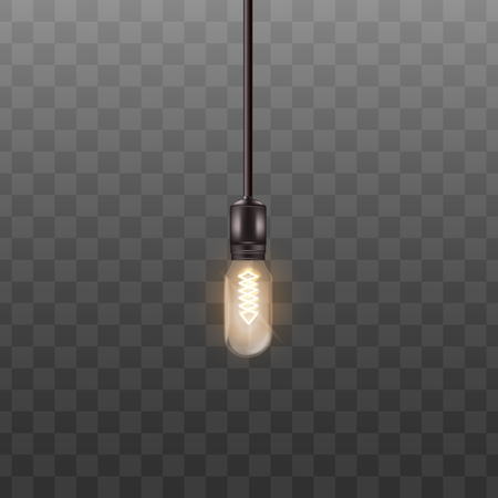 One 3d light bulb hanging on long wire in realistic style, vector illustration isolated on black transparent background. Retro incandescent Edison lamp design for loft or vintage interior Illustration