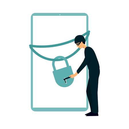 Hacker as a thief in mask opens the lock on the gadget screen flat vector illustration isolated on white background. Computer security and the threat of cyber attacks. Illustration