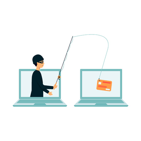 Cartoon hacker fishing for data from laptop, thief stealing credit card information with fishing rod in online fraud, burglar hacking and phishing for data - isolated flat vector illustration