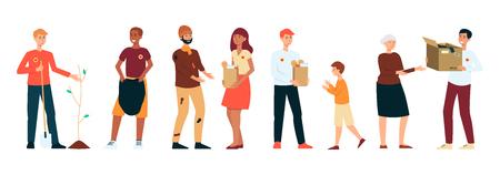 Conjunto de hombres y mujeres voluntarios que realizan diferentes actividades de caridad al estilo de dibujos animados, ilustración vectorial aislado sobre fondo blanco. Las personas plantan árboles o limpian o ayudan con la comida o donan ropa. Ilustración de vector