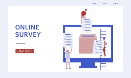 Online survey banner - customer feedback and checklist papers gathered by cartoon characters in a box inside computer screen. Internet opinion service for business, isolated flat vector illustration