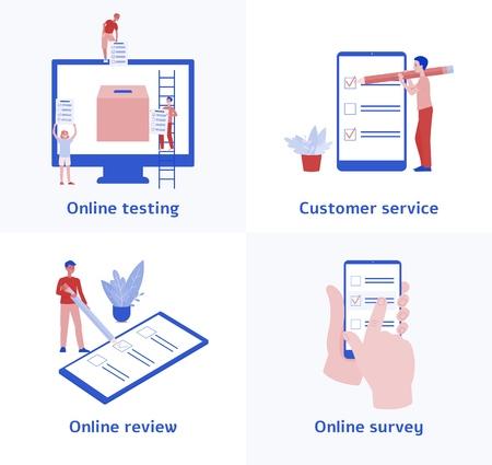 Zestaw ikon testów i ankiet online, obsługi klienta i zbierania opinii przy użyciu nowoczesnej technologii, interfejsu internetowego dla systemu recenzji biznesowej, ilustracji wektorowych płaskich postaci z kreskówek na białym tle