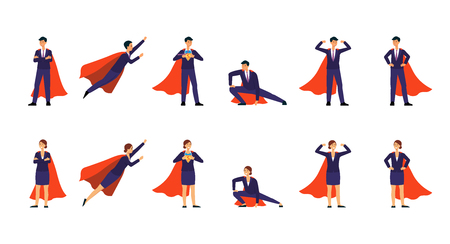 Superhero businessman in a formal suit and red cape set of different poses flat vector illustration isolated on white background. Success and super power concept icons.