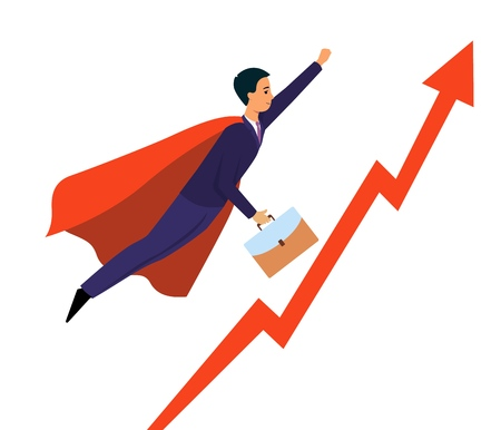 Powerful businessman wearing red cape flying over infographics pointing up arrow as a superhero flat vector banner illustration. Success and leadership background concept. Banque d'images - 124787875