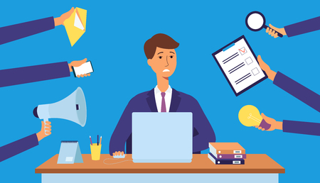 Busy office worker under stress from multitasking, young business man cartoon character with laptop overwhelmed with schedule tasks from many arms, isolated flat vector illustration