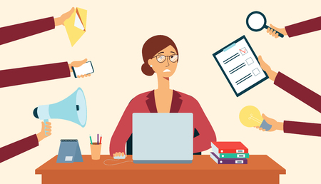 Business woman sits at desk and hands around holding things flat cartoon style, vector illustration. Stress female employee sitting at laptop and arms holding symbols of multitasking work