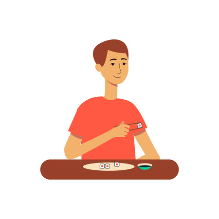Man or young guy at the table eats japanese sushi dish flat cartoon vector illustration isolated on white background. Character for food, eating and dieting concept. Illustration
