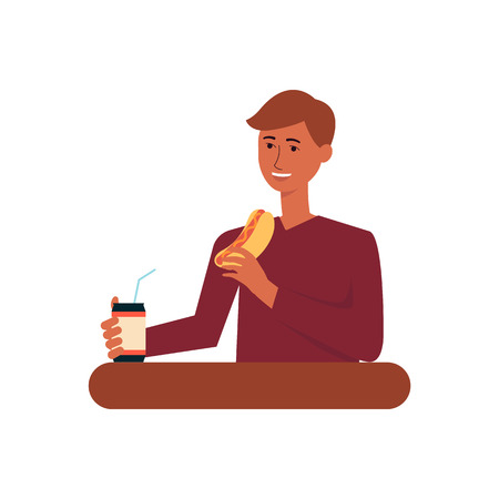 Young man eating fast food meal, adult male cartoon character drinking soda and eating hot dog, happy person having lunch - isolated flat vector illustration on white background