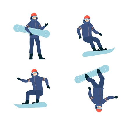 Snowboarder in a cold weather sportive suit set of cartoon flat vector illustrations isolated on white background. Winter extreme sports and active lifestyle design.