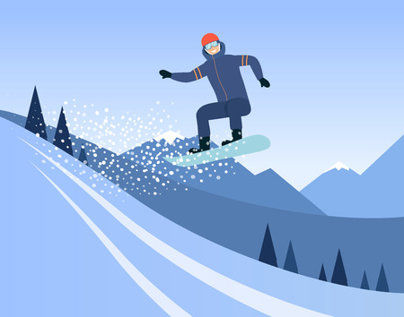 Cartoon man riding a snowboard, snowboarder doing a high jump mid air on a snow slope before mountain hills and blue sky, extreme winter sport - flat hand drawn vector illustration