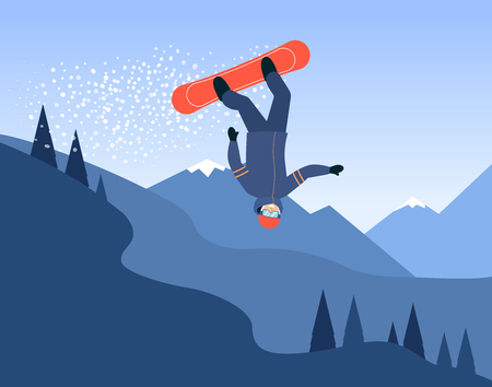 Snowboarder in the jump with his snowboard on the mountain landscape background flat vector illustration. The extreme winter sport active vacation and snowboarding concept.