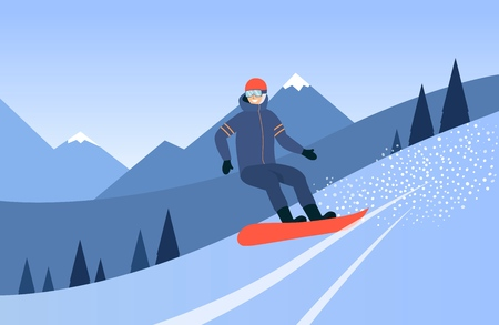 Man snowboarding in winter in the mountains cartoon flat vector isolated on white background. Element for winter extreme sports and active lifestyle illustration.