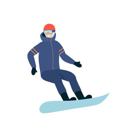 Uomo uno snowboarder che indossa una tuta sportiva per il freddo del fumetto piatto vettoriale isolato su sfondo bianco. Elemento per gli sport estremi invernali e l'illustrazione di uno stile di vita attivo.