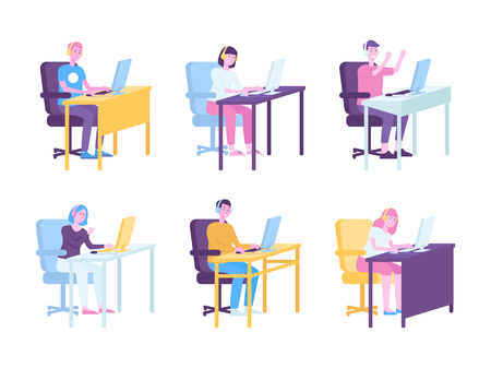 Male and female gamers behind computers playing video game, set of many cartoon character teenagers with angry or happy showing reactions, isolated vector illustration on white background