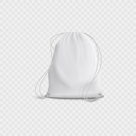 Realistic 3d white blank bag and backpack with drawstring on a transparent background. Realistic 3d vector illustration of backpack with drawstring. Çizim