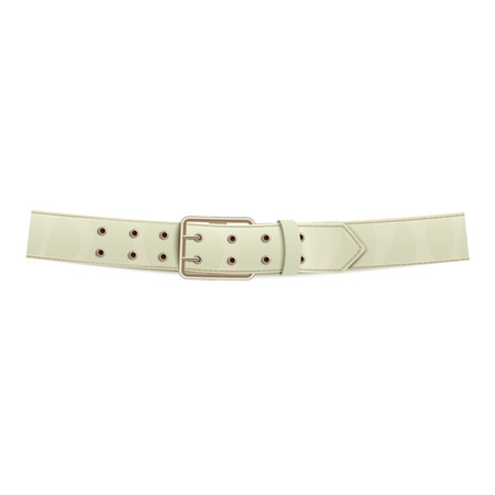 Realistic white trouser leather belt with a metal buckle, isolated vector illustration. Illustration