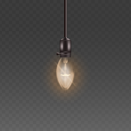Single hanging light bulb the interior vintage lighting element vector 3d realistic illustrations isolated on transparent background. Glass electricity lamp glowing.