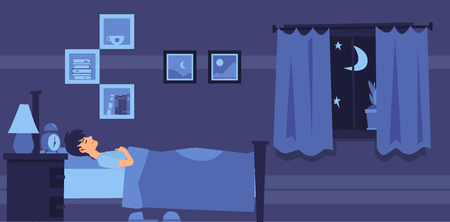 Man sleeping in bedroom at night flat cartoon style, vector illustration on interior background. Blue banner design with male character lies resting in bed at sleep time Ilustrace