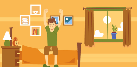 Happy man sits on bed waking up in morning flat cartoon style, vector illustration on interior background. Yellow banner design with male character sitting in bedroom after getting up