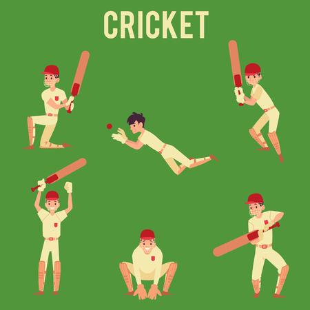 Conjunto de hombre de pie en poses de bola de golpe o captura sosteniendo estilo de dibujos animados de bate de cricket, ilustración vectorial aislado sobre fondo verde. Jugador de cricket masculino o bateador en uniforme deportivo