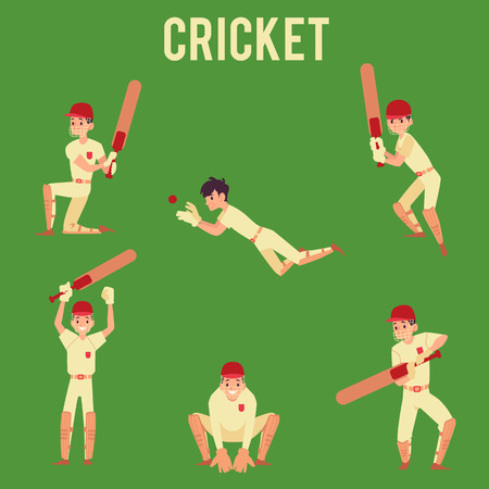 Set of man standing in hit or catch ball poses holding cricket bat cartoon style, vector illustration isolated on green background. Male cricket player or batsman in sport uniform Stock Illustratie