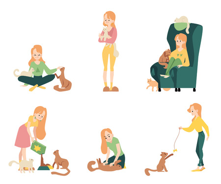 Set of woman doing different activities as cat owner cartoon style, vector illustration isolated on white background. Female character hugging and playing and stroking and feeding her kitten pet Çizim