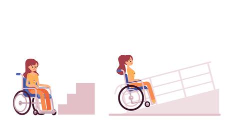 Donna o ragazza disabile in sedia a rotelle in attesa in fondo ai gradini e rampa di accesso per disabili set di due illustrazioni vettoriali piatte isolate su sfondo bianco