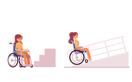 Handicapped woman or girl in a wheelchair waiting at the bottom of steps and disabled access ramp set of two flat vector illustration isolated on white background.