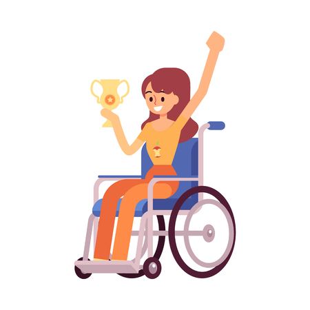 Disabled woman or handicapped girl on the wheelchair a winner of a sport competition with the award cup flat vector illustration isolated on white background. Active lifestyle.