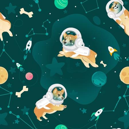 Modèle sans couture avec des chiens Welsh Corgi volant dans un style de dessin animé d'espace ouvert, illustration vectorielle. Textile ou papier peint répétant l'impression avec des chiots en combinaisons d'astronautes et des casques sur fond cosmique Vecteurs