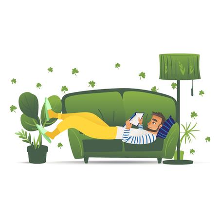 Hombre acostado en el sofá verde, joven adulto masculino relajándose y leyendo un libro en casa en un cómodo sofá, dibujado a mano de ilustración de vector de estilo de vida de ocio y aislado sobre fondo blanco