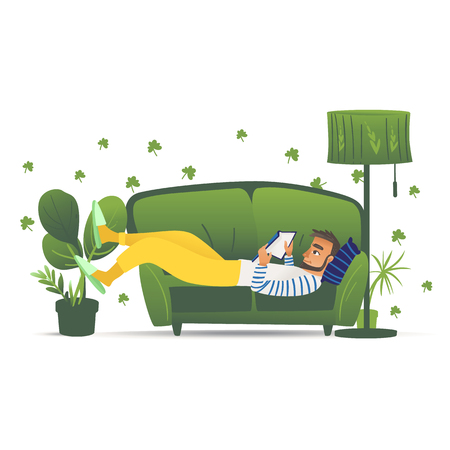 Man lying on green sofa, young male adult relaxing and reading a book at home on a comfortable sofa, leisure lifestyle vector illustration hand drawn and isolated on white background