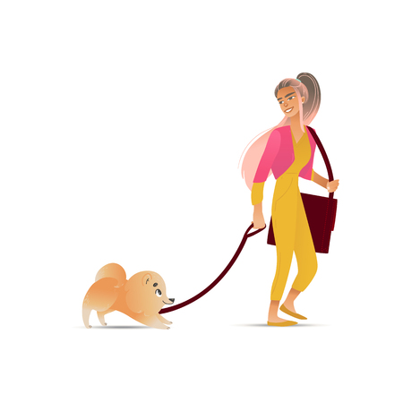 Cute girl walking her pet dog, beautiful woman with domestic animal on a leash, female cartoon character in cool outfit in hand drawn style, isolated vector illustration on white background Stock Illustratie