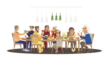 Grande cena in famiglia intorno al tavolo con il cibo, molte persone che mangiano un pasto e parlano insieme, personaggi dei cartoni animati felici durante il pranzo di gruppo o la celebrazione, illustrazione vettoriale isolato su sfondo bianco