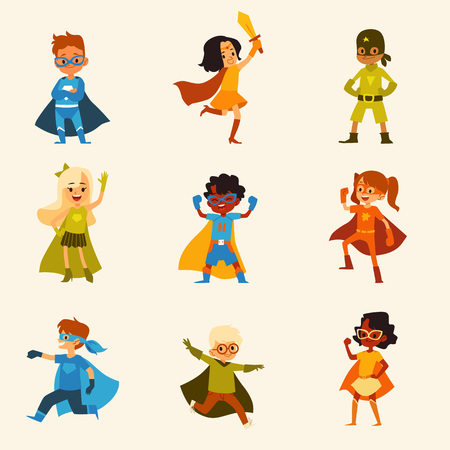 Set of kids characters in colorful superhero costumes cartoon style, vector illustration isolated on light background. Children boys and girls in capes and masks standing in playing heroic poses
