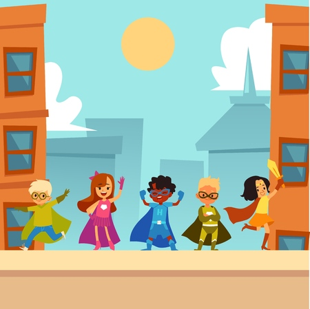 Kids superheroes team standing outdoors in brave heroic poses cartoon style, vector illustration on urban cityscape background. Group of children boys and girls dressed superheroes costumes