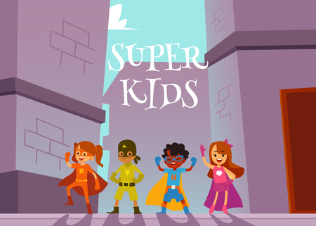 Children superheroes team standing outdoors in heroic poses cartoon style, vector illustration on urban background. Super kids poster or banner design with boys and girls dressed heroes costumes Illustration