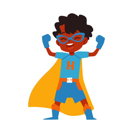 African kid little boy superhero costume standing raised arms cartoon style, vector illustration isolated on white background. Boy child dressed in yellow cape and blue mask and gloves in winner pose