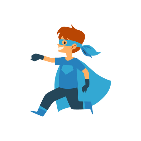 Kid boy in blue superhero costume running arm extended forward cartoon style, vector illustration isolated on white background. Child little boy dressed cape and mask and gloves in brave heroic pose Ilustração