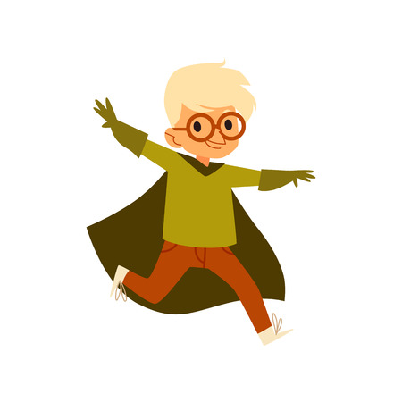 Kid boy in green superhero costume running arms raised sideways cartoon style, vector illustration isolated on white background. Child little boy dressed cape and glasses and gloves in flying pose
