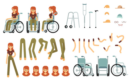 Constructor set for disabled woman creation cartoon style, vector illustration isolated on white background. Body parts of female wheelchair user character and support equipment and emotions