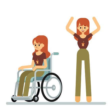 Set of woman sitting in wheelchair and standing with raised arms cartoon style, vector illustration isolated on white background. Female character got out of wheelchair, disability healing