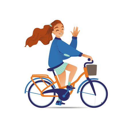 Young pretty girl or woman rides on a bicycle or bike flat cartoon vector illustration isolated on white background. Happy summer cyclist in concept of relaxation and leisure.