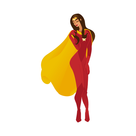 Female sexy superhero and superwoman with long hair and flying cloak standing in a red costume, shy or flirting, isolated vector flat comic cartoon illustration.