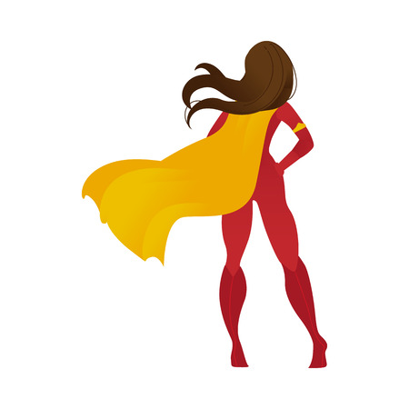 Superhero woman or female super powerful personage in a cape flat cartoon vector illustration isolated on white background. Symbol of strength and success in business. Stock Illustratie