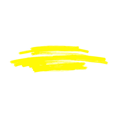 Yellow spot or underline from marker or highlighter, pen or brush, isolated vector illustration on white background. Çizim