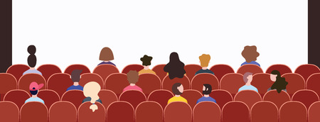 Audience crowd sitting in chairs at event presentation, back view of a group of cartoon character people at conference hall or concert looking at stage, flat hand drawn vector illustration