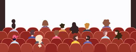 Multitud de audiencia sentada en sillas en la presentación del evento, vista posterior de un grupo de personajes de dibujos animados en la sala de conferencias o conciertos mirando al escenario, ilustración vectorial dibujada a mano plana
