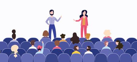 Discurso ante una audiencia en la sala del escenario. Dos oradores o entrenadores de negocios, un hombre con barba y una mujer con cabello largo en la conferencia hablan a una audiencia, ilustración vectorial plana.